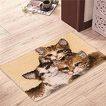 "Ylkgogo Latch Hook Kits Crochet Yarn Kits, DIY Tools Needlework Unfinished Crocheting Rug Yarn Cushion Embroidery Carpet Set 23.6"" X 15.8"" (Cat)"