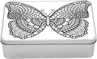 Ambesonne Folk Tin Box, Black and White Butterfly Design with Various Elements from Eastern Civilizations, Portable Rectangle