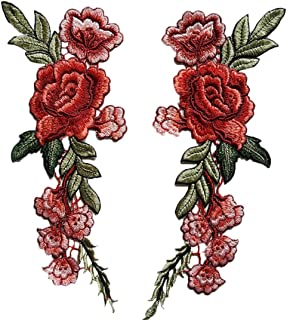 Staron 2PC Roses Floral Collar Sew Patch Applique Badge Sticker DIY Embroidered