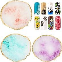 3 Piezas Paletas de Arte de Uñas Paleta de Mezcla de Uñas Placa de Mezcla de Color de Esmalte de Uñas Soporte de Uñas de Resina con Borde Dorado Herramientas de Mezcla Cosmética Exhibición de Uñas