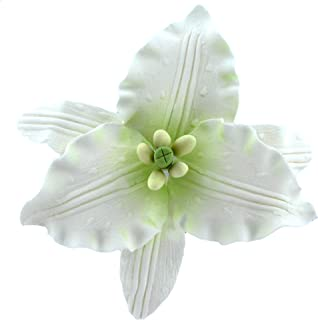 Global Sugar Art Casablanca Lily Sugar Flowers Large, White with Green Center, 9 Count by Chef Alan Tetreault