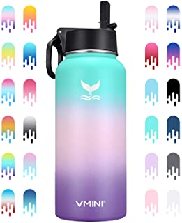 Best Vmini Water Bottle with New Wide Handle Straw Lid, Wide Mouth Vacuum Insulated 18/8 Stainless Steel, 32 oz, Gradient Mint + Pink + Purple Reviews