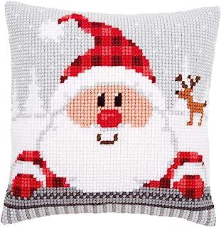 Vervaco Zestaw do haftu krzyżykowego: poduszka: Mikołaj w kratę, akryl, NA, 40 x 40 cm