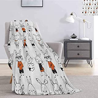 Luoiaax Funny Bedding Fleece Blanket Queen Size Cute Retro Bunny Rabbits with Costumes Jack Hare Funky Bunnies Carrot Sketch Style Queen Size Blanket Soft Warm W70 x L93 Inch Orange White