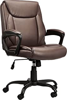 Amazon Basics Classic Puresoft Padded Mid-Back Office Computer Desk Chair with Armrest - Brown