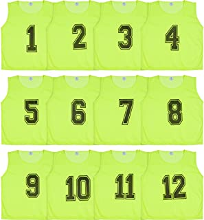 Athllete DURAMESH Set of 12 - Scrimmage Vest/Pinnies/Team Practice Jerseys with Free Carry Bag. Sizes for Children Youth Adult and Adult XL