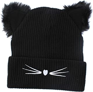 265efc85 Winter Woman Cat Hat Black Knit Cap with Cute Kitty Ears Braided Warm Gift  for Girls