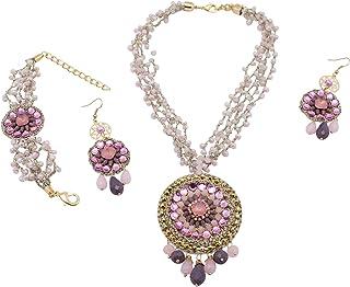 Parure di gioielli Antonie Lavanda e Polvere: collana statement, orecchini, bracciale molto leggero