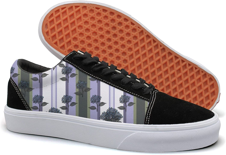 Feenfling Purple Bouquet Hydrangea Stripe Womens Navy Suede Canvas Deck shoes Low Top Cloth shoes
