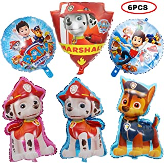 Bsstr 6 Pcs Paw Dog Patrol Balloons - Birthday Party Supplies Decorations - Party Favors Dog Theme Decorations