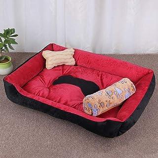 jiwenhua Mascotas, perreras, nidos de Perros, Telas de Teddy, Rojo y Negro con Mantas, L (80 * 60 * 15 cm)