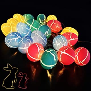 10 FT 20 Easter Eggs LED String Lights with 4 Colors, Battery Powered Easter Basket Stuffers Decorations, Easter Bunny Nes...