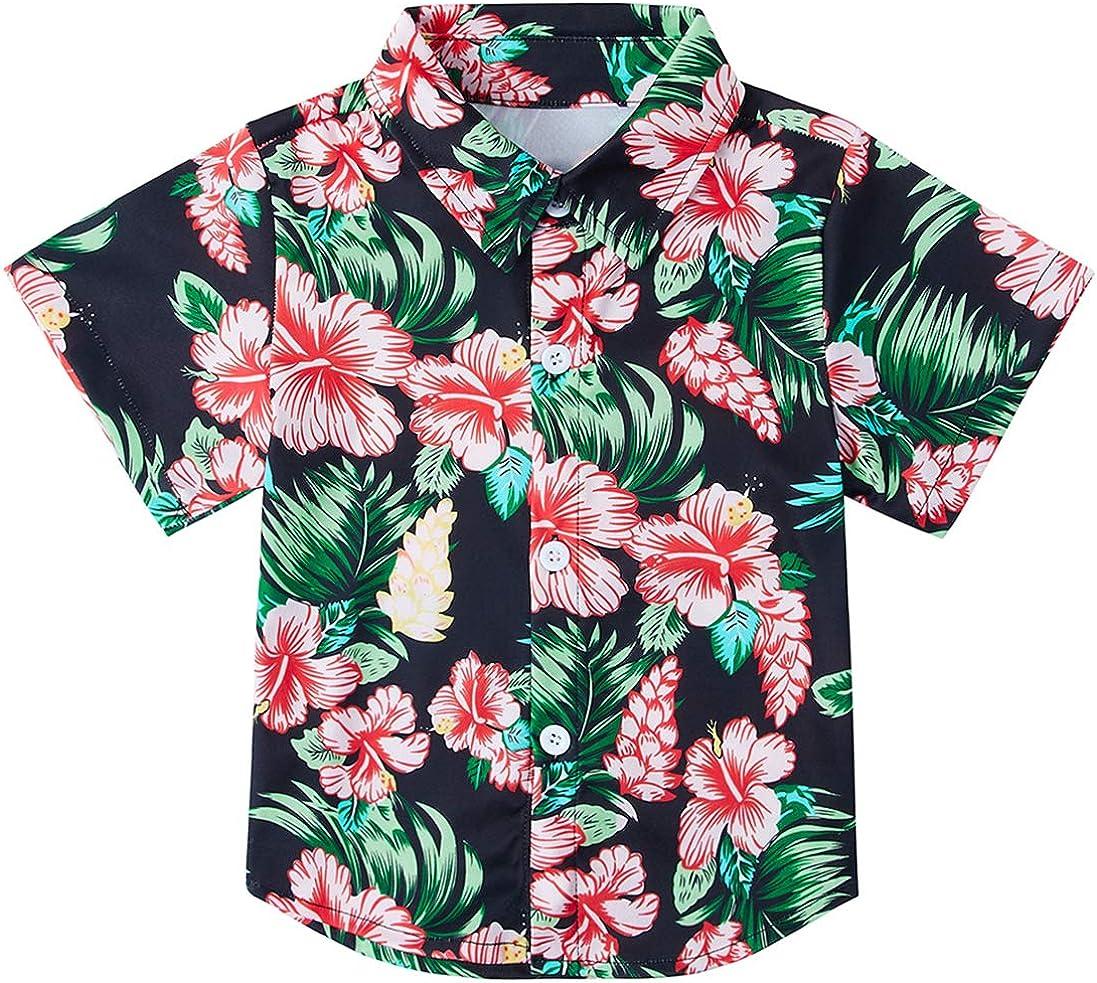 store RAISEVERN Boys' Button Bombing free shipping Down Shirts Hawaiian Slim-F Cartoon Print