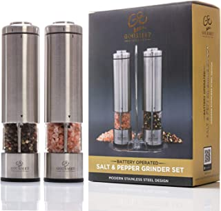 Gourmet Elements Electric Salt and Pepper Grinder Set | 2 Refillable, Battery Operated, Stainless Steel Mills