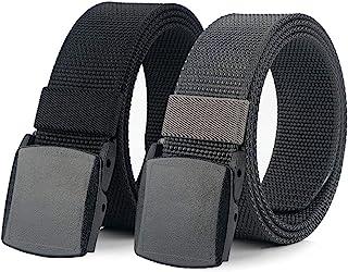 حزمة من 2 أحزمة نايلون للرجال من Hoanan، حزام للمشي التكتيكي غير معدني عالي التحمل