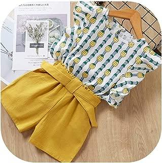 APROUDROSE Playera sin Mangas y Pantalones Cortos sólidos para niños, diseño Floral de Primavera, 2 Unidades