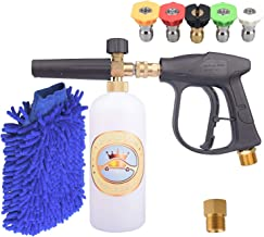 GDHXW X-884 Complete Set Box for car Washing 3000 PSI High Pressure Snow Foam Lance Foam Cannon Foam Blaster M22 Thread Conversion Adapter 5 Pressure Washer Nozzles Cleaning Gloves
