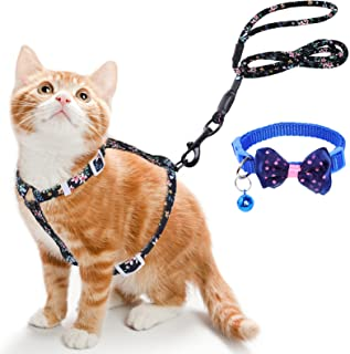 Simpeak Cat Harness with Leash Set and Collar Set, Escape Proof Adjustable H-Shaped Kitten Harness and Leash Set with Flow...