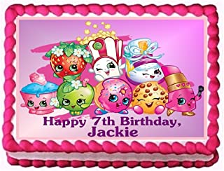 Shopkins Personalized Edible Cake Topper Image -- 1/4 Sheet