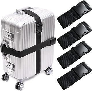 KABB HS-0083 4 PCS Suitcase Belts Travel Accessories Bag Luggage Straps, Multicolored, One Size, Black, M