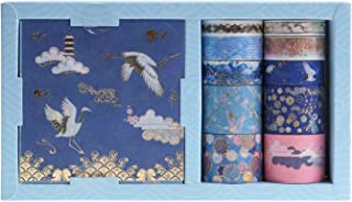 RisyPisy Washi Tape Gift Box Set, Red-crowned Crane Gilded Series Masking Tapes, 10 Rolls Decorative Adhesive Tape with 10 Sheets Colored Sticker for Makeup Box, Mirror, Storage Box, Diary, Envelope