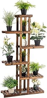 Flower Rack Wood Plant Stand 7 Wood Shelves 11 Pots Bonsai Display Shelf Indoor (Color : Natural, Size : 56x21x110cm)