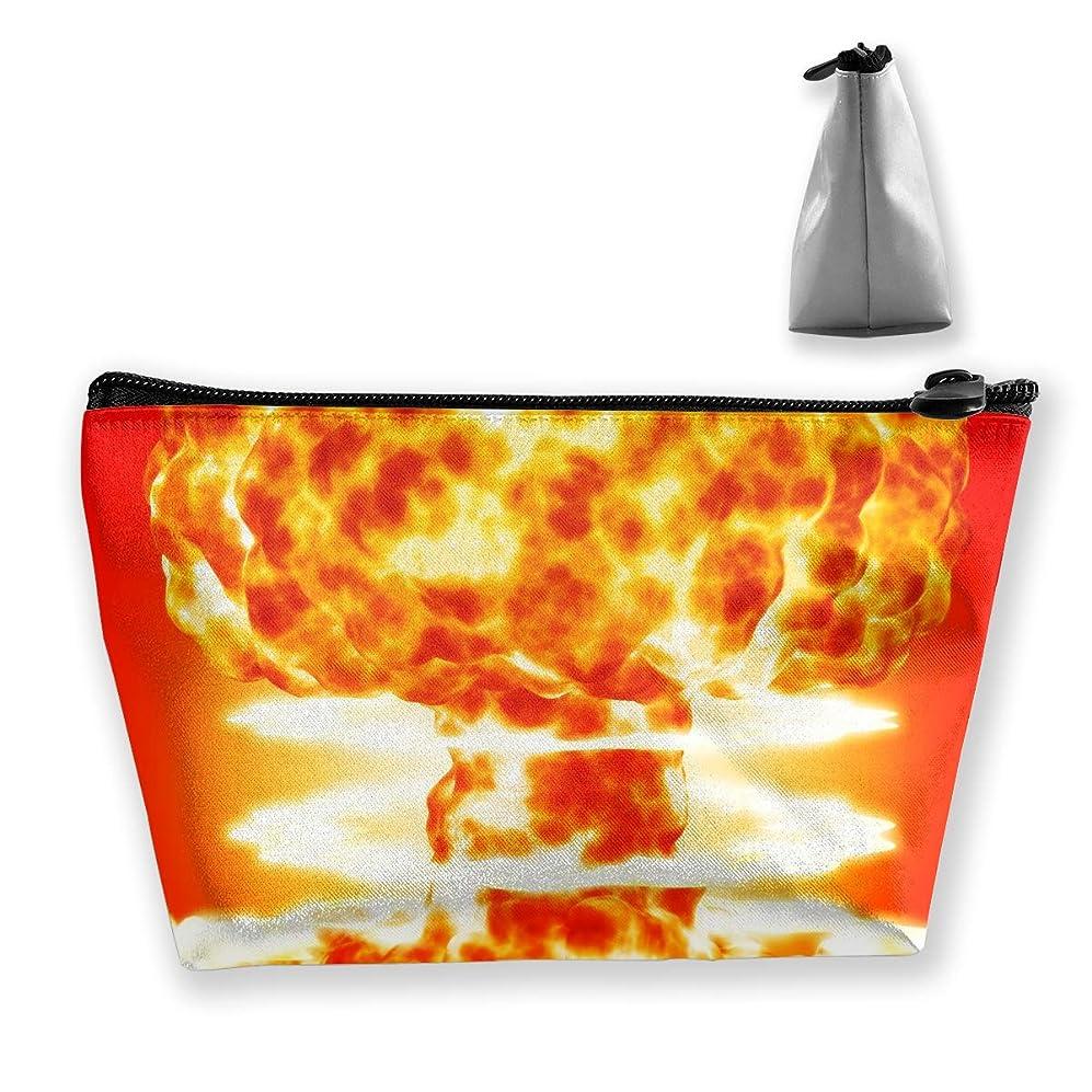 遮るカバーリング台形 レディース 化粧ポーチ トラベルポーチ 旅行 ハンドバッグ 爆発の火 コスメ メイクポーチ コイン 鍵 小物入れ 化粧品 収納ケース