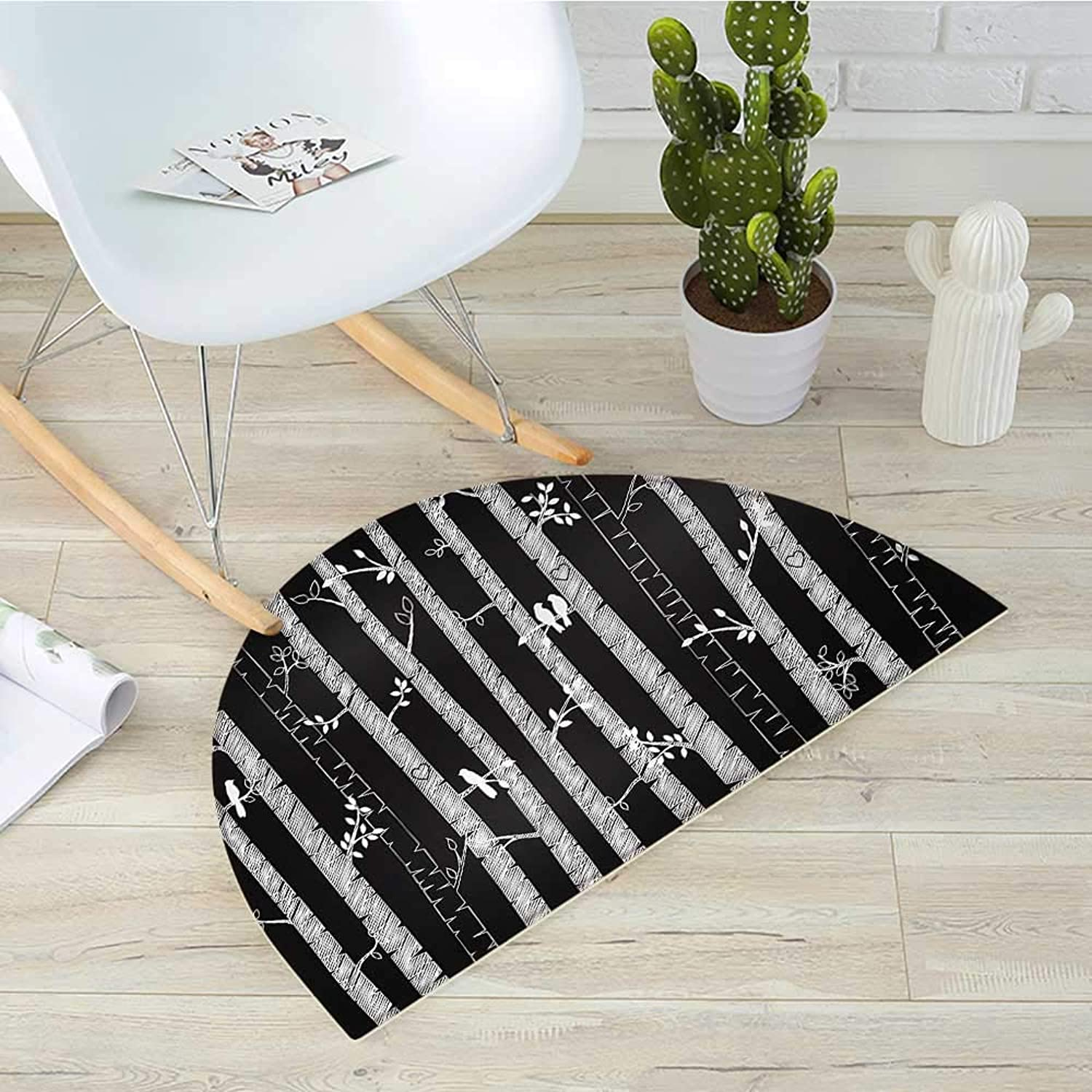 Black and White Semicircle Doormat Sketch Style Jungle with Long Tree Trunks and Birds Autumn Nature Doodle Halfmoon doormats H 43.3  xD 64.9  Black White