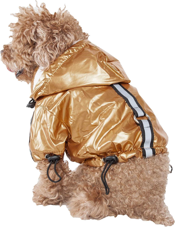 PET LIFE 'ReflectaSport' Fashion Insulated Adjustable and Reflective Windproof WaterResistant Pet Dog Coat Jacket Rainbreaker w Removable Hood, Large, Mustard Yellow