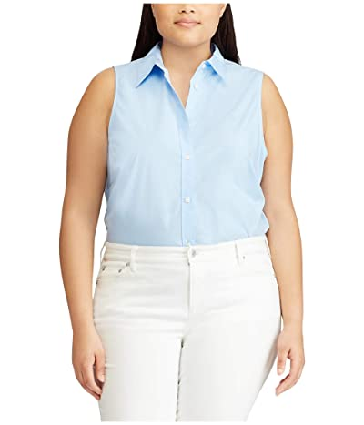 LAUREN Ralph Lauren Plus Size No-Iron Sleeveless Shirt (Blue) Women