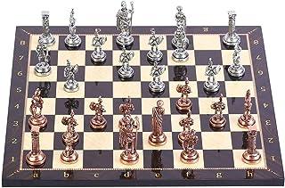 QinWenYan Jeu d'échecs Cuivre Antique Rome Figures Chesses métalliques Ensemble de pièces à Motifs Faits à la Main en Noye...