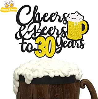 KAPOKKU Birthday Cake Topper,Cheers & Beers Cake Topper,Birthday Wedding Anniversary Party Supplies Glitter Decorations 1 Set (30th cheers&beers cake topper)