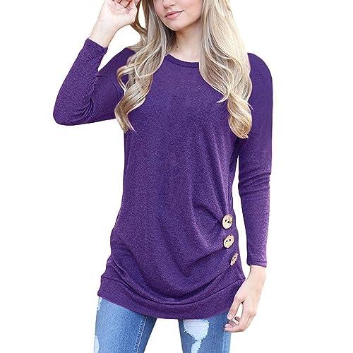 4a557da418c MOLERANI Women s Casual Long Sleeve Round Neck Loose Tunic T Shirt Blouse  Tops