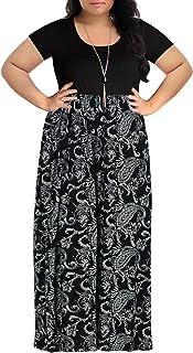 a39168eda47f Nemidor Women's Chevron Print Summer Short Sleeve Plus Size Casual Maxi  Dress
