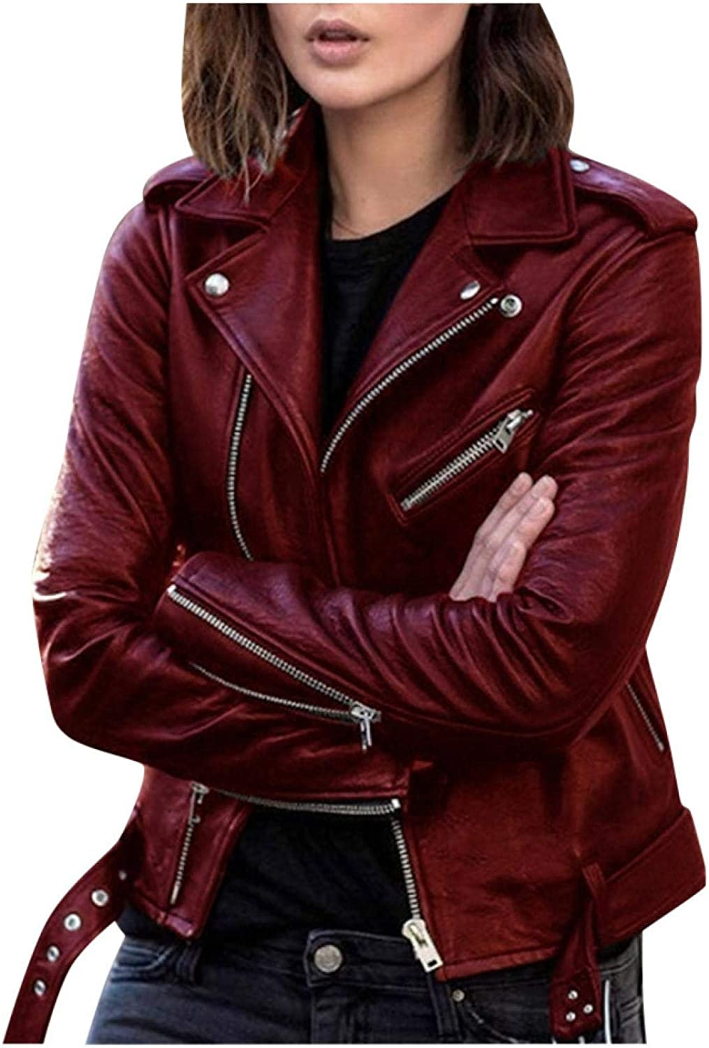 Women Cool Artificial Leather Jacket Fitted Closure Coat Zipper Super beauty product restock quality Ranking TOP13 top