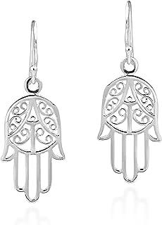 Hand of Hamsa Ethereal Swirls .925 Sterling Silver Dangle Earrings