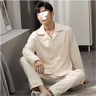 without Mens pajama set men pajama set mens pajamas 100% Cotton Pajamas for Men Full Sleeves Winter Button-Down Sleepwear ...
