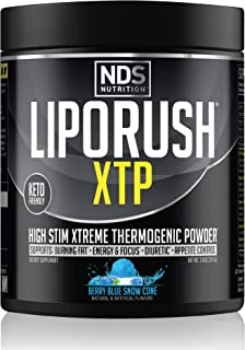 NDS Nutrition LipoRush XTP Thermogenic Fat Burner with L-Carnitine - Energy, Focus, and Appetite Control - Extreme Thermogenic Fat Burning Powder Weight Loss - Blue Berry Snow Cone (45 Servings)