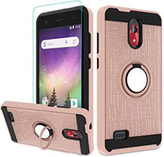 Atump Coolpad Illumina 2018 Case,Coolpad Legacy Go Phone Case with HD Screen Protector, 360 Degree Rotating Ring Holder Kickstand Bracket Cover Phone Case for Coolpad Illumina 3310A Rose Gold