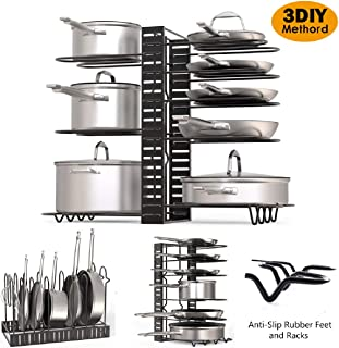 Pot Organizer Rack – 3 DIY Methods, Height and Position are Adjustable in Anti-Slip Rubber Feet and Racks – Heavy Duty Lids and Metal Pots & Pans Organizer – Pantry & Kitchen Cabinet Organizer