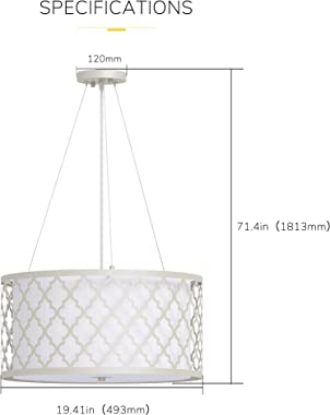Inlight Modern Chandelier Light fixtures, Farmhouse 3-Light Drum Chandelier for Dining Room, Adjustable Hanging Ceiling Light
