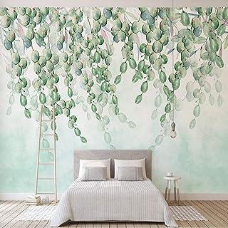 hhlwl Custom Mural Wallpaper Modern 3D Green Grape Leaves Wall Painting Living Room Dining Room Self-Adhesive Waterproof W...
