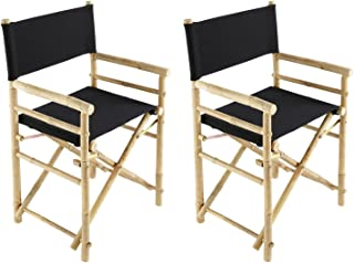 Zew Indoor Black Canvas Folding Director Chair Bamboo Portable Camping Outdoor Set of 2, 35