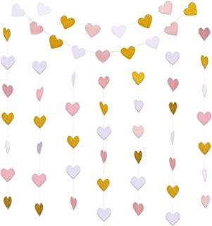Hestya 2 Pack Paper Heart Garlands Heart Hanging Banner Bunting for Valentine's Day Wedding Party Decoration, 10 Feet Each...