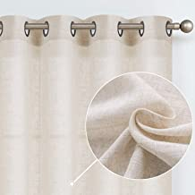 Linen Curtains for Bedroom Linen Textured Light Reducing Window Curtain Panels for Living Room 2 Panels 95-Inch Crude
