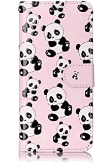Simple Flip Case Fit for iPhone XS, panda Leather Cover Wallet for iPhone XS