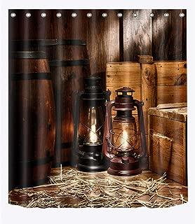 LB Rustic Western Farmhouse Barn Theme Decor Artistic Shower Curtain for Bathroom, Old Wood Plank Door Oil Lamp, Water Repellant Decor Curtain, 70 W x 78 L