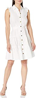Calvin Klein Women's Sleeveless Shirtdress with Ruffle Armhole