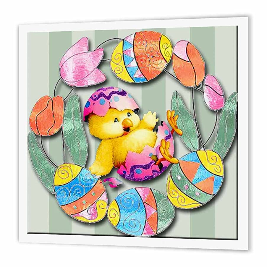 3dRose ht_167131_2 Cute Easter Chick & Eggs All Decorated Around Pretty Tulips Iron on Heat Transfer Paper for White Material, 6 by 6