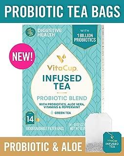 VitaCup Probiotic Blend Infused Tea 14 ct |Keto|Paleo|Vegan| Green Tea with Probiotics, Aloe, Vitamins Helps Support Digestion, Gut Health, and Immunity (14 Count)